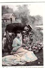 DC79. Vintage French Tinted Postcard. Romantic couple in a garden.