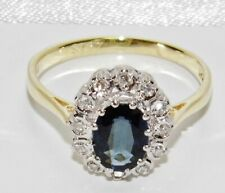 18ct Gold Blue Sapphire & Diamond Large Cluster Ring size R