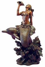 Mermaid Statue on Dolphin Blowing Conch Shell Fantasy Nautical Ocean Sea  #1453