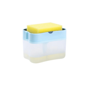 2-in-1 Liquid Dispenser Container Hand Press Soap Organizer Kitchen Cleaner Tool