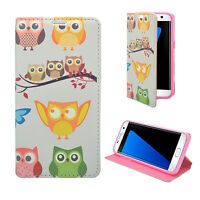 CASE FOR SAMSUNG GALAXY LT GREY MULTI OWL DESIGN PU LEATHER WALLET COVER