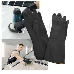 Heavy Duty Black Rubber Gloves Household Reusable Cleaning Garden DIY Waterproof