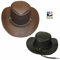 LEATHER OUTBACK HAT ~ Aussie Cowboy Bush Style in BROWN & BLACK Handmade in USA