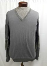 PAUL SMITH  XXL Gray Striped Cotton Wool Shirt Sweater  V Neck Jumper  (large L)