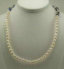 08169e38bb6c Agua dulce collar de perlas blanco y negro con bloqueo de plata esterlina  37.5 pulgadas