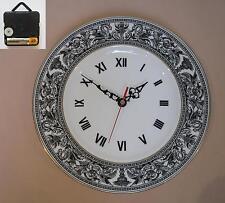 "Wedgwood ""Florentine"" (Black) 10.75"" Wall Hanging Plate CLOCK"