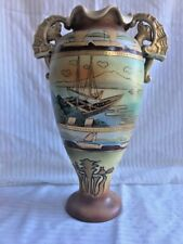 LARGE SATSUMA POTTERY HAND PAINTED VASE SAILBOATS, BEAST HANDLES