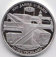 10 Euro Gedenkmünze 100 Jahre U-Bahn 2002 Polierte Platte Silber 925/-
