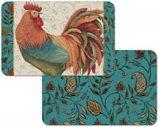 Set of 4 Rainbow Rooster Reversible Placemats by Counter Art