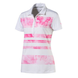 Women's PUMA Bloom Stripe Golf Polo Shocking Pink XSmall