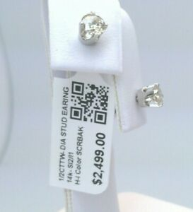 14k SOLID WHITE Gold $2500 CERTIFIED 1/2CT TW REAL Diamond Stud Earrings CHEAP!