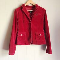 AEO American Eagle Outfitters Red Velvet Cropped Jacket Blazer M Fitted Tailored