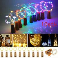 10tlg 20LED Flaschenlicht Korken mit LED Lichterkette Weinflasche Licht Akku DE