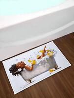 African Girl Bubble Bath Non-Slip Bathroom Rug Home Door Mat Shower Floor Carpet