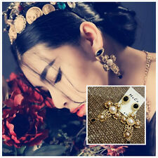 NEW Costume Fashion Earrings Studs Cross Pearl Black Vintage Retro Baroque Style