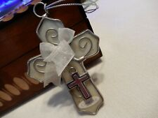 Stained Glass & Silver CROSS Sun-catcher/Ornament Religious~Peace & Courage Gift