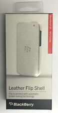 New OEM Blackberry Q5 Leather Flip Shell Carrying Cover Case - Retail ( White )