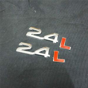 2PCS Chrome 2.4L Red Metal Badge Sticker Emblem Decal 3D fit Auto suv Car Engine