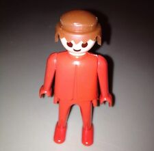 Vintage 1970s Geobra Playmobil Red Figure with Brown Hair Great Condition!