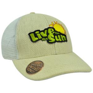 Built In Bottle Drink Opener Snapback Hat Cap Straw Mesh Live For The Sun White