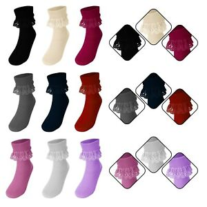 Girls Ankle High Frill Lace Top Retro Style Ruffled Lace Trim Socks 1 Pair New