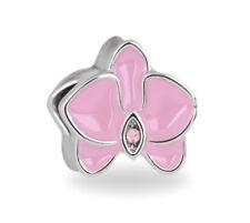 Pink Orchid European Bead, Flower Charm, Floral, For European Charm Bracelets