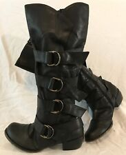 Ladies Black Knee High Leather Lovely Boots Size 39 (489Q)