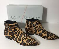 Sole Society NEW Keema Booties Leopard Print Real Fur Dyed Calf Fur Size 7.5M