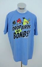 ANGRY BIRDS MEN'S BLUE T-SHIRT SHIRT Drop Birds Not Bombs Size XL