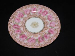 HAVILAND LIMOGES PINK RING OF ROSES CABINET PLATE HEAVY GOLD DECORATION