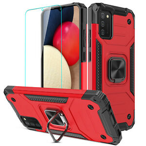 For Samsung A12/A02S/A32/A52/A72 4G/5G Case Shockproof Ring Cover/Tempered Glass