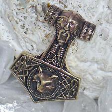 mächtiger Thorhammer Odin Kopf Freki Wolf Bronze Germanen Wikinger Thorshammer