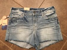 NEW SILVER Aiko Jean Mid Rise Shorts Womens 27 W x 3 NWT Distressed Festival