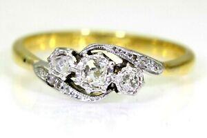 Georgian 0.30ct Diamond Trilogy 18ct Yellow Gold Platinum Art Deco Ring O ~7 1/4