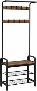 VASAGLE Coat Rack Stand, Free Standing Hall Tree, Coat Stand with Removable Hook
