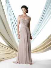 NEW MONTAGE Mon Cheri 114910 Formal Evening Taupe Chiffon Beaded GOWN Size 16