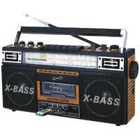 Retro Portable Boombox Radio Player Recorder Cassette USB AUX MP3 Converter NEW