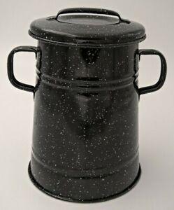 Kübel emailliert mit Deckel 2 L schwarz gesprenkelt, ursprüngl. Schmalzkübel