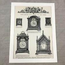 1880 Bracket Clocks Old Victorian Advertisement Large Original Antique Print