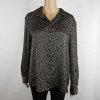 Chaus Womens Polka Dot Button Down Blouse Long Roll Up Sleeve Black White Size M
