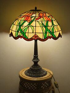 Große Tischlampe TIFFANY Jugendstil  Höhe: 70 cm  Duchmesser: 50 cm