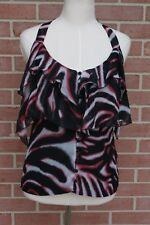 Bebe Women's Size XS Multi-color Ruffled Halter Top Silk Blouse