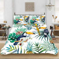 Flowers Birds 3D Quilt Duvet Doona Cover Set Single Double Queen King Print
