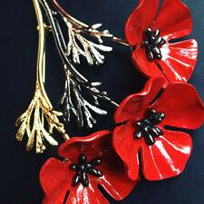 HOT Enamel Red Poppy Flower Mens Brooch Lapel Pin Broach Commemoration Day Gift
