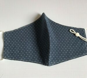 Navy Spotted Face Mask/Covering Adjustable Ear Loop Washable Reusable