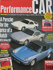 Performance Car 11/1991 Pegaso, Porsche, Peugeot 205 GTi, Renault 5GT Turbo, VW