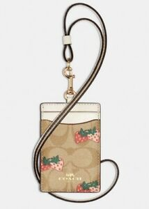 Coach Id Lanyard In Signature Canvas With Strawberry Print/ FREE SHIPPING