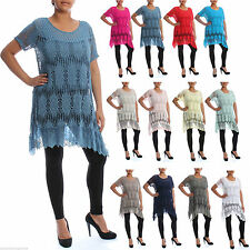Lace Boat Neck Floral Plus Size Tops & Shirts for Women