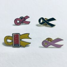 4 Awareness Ribbon Pins Kidney Breast Cancer Troops Pink Yellow Green Pinback