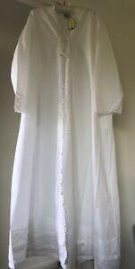 Dressing Gown Robe White Cotton Victorian Style 26-28